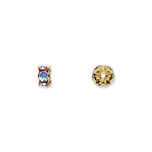 bead, swarovski crystals and gold-plated brass, crystal passions, crystal ab, 6x3.5mm rondelle (77506). sold per pkg of 4.