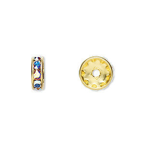 bead, swarovski crystals and gold-plated brass, crystal passions, crystal ab, 10x3.5mm rondelle (77510). sold per pkg of 4.