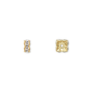 bead, swarovski crystals and gold-plated brass, crystal passions, crystal clear, 6x3.5mm square rondelle (77606). sold per pkg of 4.