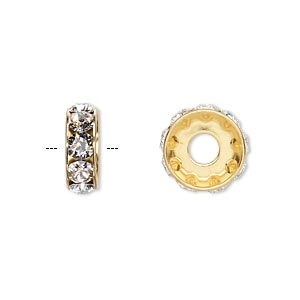 bead, swarovski crystals and gold-plated brass, crystal passions, crystal clear, 12x4.5mm becharmed rondelle with 4mm hole. sold per pkg of 4.