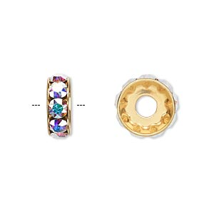 bead, swarovski crystals and gold-plated brass, crystal passions, crystal ab, 12x4.5mm becharmed rondelle with 4mm hole. sold per pkg of 4.
