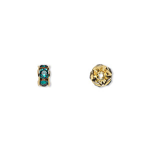 bead, swarovski crystals and gold-plated brass, crystal passions, emerald, 6x3.5mm rondelle (77506). sold per pkg of 48.