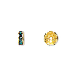 bead, swarovski crystals and gold-plated brass, crystal passions, emerald, 8x3.5mm rondelle (77508). sold per pkg of 144 (1 gross).