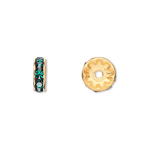 bead, swarovski crystals and gold-plated brass, crystal passions, emerald, 10x3.5mm rondelle (77510). sold per pkg of 144 (1 gross).