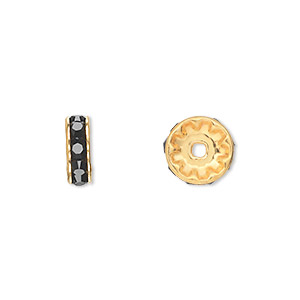bead, swarovski crystals and gold-plated brass, crystal passions, jet, 10x3.5mm rondelle (77510). sold per pkg of 144 (1 gross).