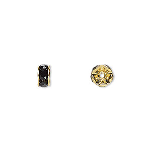 bead, swarovski crystals and gold-plated brass, crystal passions, jet, 6x3.5mm rondelle (77506). sold per pkg of 4.