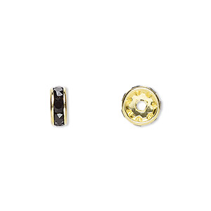 bead, swarovski crystals and gold-plated brass, crystal passions, jet, 8x3.5mm rondelle (77508). sold per pkg of 48.