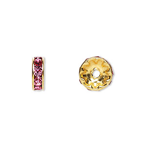 bead, swarovski crystals and gold-plated brass, crystal passions, rose, 10x3.5mm rondelle (77510). sold per pkg of 48.