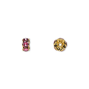 bead, swarovski crystals and gold-plated brass, crystal passions, rose, 6x3.5mm rondelle (77506). sold per pkg of 144 (1 gross).