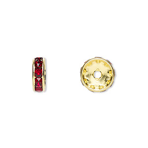 bead, swarovski crystals and gold-plated brass, crystal passions, siam, 10x3.5mm rondelle (77510). sold per pkg of 48.