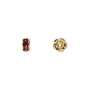 bead, swarovski crystals and gold-plated brass, crystal passions, siam, 6x3.5mm rondelle (77506). sold per pkg of 48.