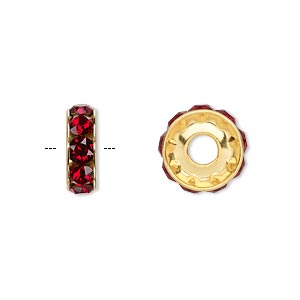 bead, swarovski crystals and gold-plated brass, siam, 12x4.5mm becharmed rondelle with 4mm hole. sold per pkg of 144 (1 gross).