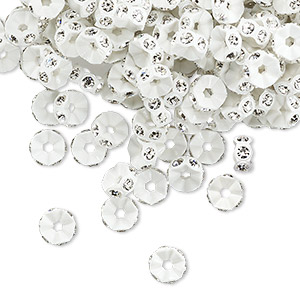 bead, swarovski crystals and plastic, crystal clear and white, 5x2.5mm mini rondelle. sold per pkg of 1,440 (10 gross).