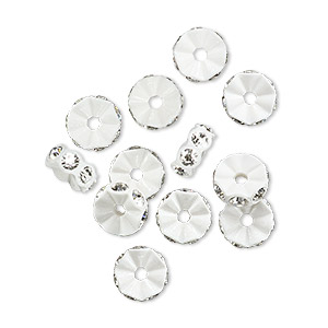 bead, swarovski crystals and plastic, crystal passions, crystal clear and white, 7x3mm mini rondelle. sold per pkg of 12.