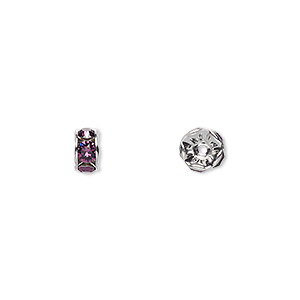 bead, swarovski crystals and rhodium-plated brass, crystal passions, amethyst, 6x3.5mm rondelle (77506). sold per pkg of 4.
