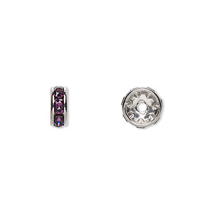 bead, swarovski crystals and rhodium-plated brass, crystal passions, amethyst, 8x3.5mm rondelle (77508). sold per pkg of 4.