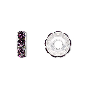 bead, swarovski crystals and rhodium-plated brass, crystal passions, amethyst, 12x4.5mm becharmed rondelle with 4mm hole (77512). sold per pkg of 48.