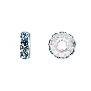 bead, swarovski crystals and rhodium-plated brass, crystal passions, aquamarine, 12x4.5mm becharmed rondelle with 4mm hole (77512). sold per pkg of 4.