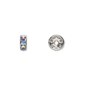 bead, swarovski crystals and rhodium-plated brass, crystal passions, crystal ab, 8x3.5mm rondelle (77508). sold per pkg of 4.