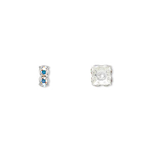 bead, swarovski crystals and rhodium-plated brass, crystal passions, crystal ab, 6x3.5mm square rondelle (77606). sold per pkg of 4.