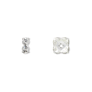 bead, swarovski crystals and rhodium-plated brass, crystal passions, crystal clear, 8x3.5mm square rondelle (77608). sold per pkg of 4.