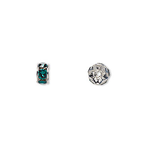 bead, swarovski crystals and rhodium-plated brass, crystal passions, emerald, 6x3.5mm rondelle (77506). sold per pkg of 144 (1 gross).