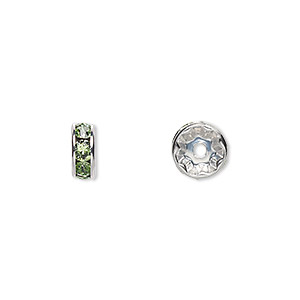 bead, swarovski crystals and rhodium-plated brass, crystal passions, peridot, 8x3.5mm rondelle (77508). sold per pkg of 144 (1 gross).