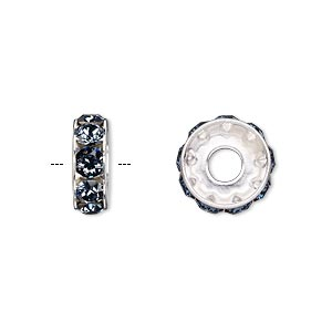 bead, swarovski crystals and rhodium-plated brass, denim blue, 12x4.5mm becharmed rondelle with 4mm hole (77512). sold per pkg of 144 (1 gross).