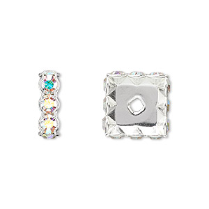 bead, swarovski crystals and silver-plated brass, crystal ab, 12x4.5mm square rondelle (77612). sold per pkg of 4.