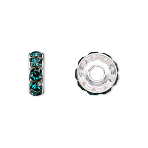 bead, swarovski crystals and silver-plated brass, crystal passions, emerald, 12x4.5mm becharmed rondelle with 4mm hole (77512). sold per pkg of 48.
