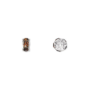 bead, swarovski crystals and silver-plated brass, crystal passions, smoked topaz, 6x3.5mm rondelle (77506). sold per pkg of 48.