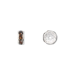 bead, swarovski crystals and silver-plated brass, crystal passions, smoked topaz, 8x3.5mm rondelle (77508). sold per pkg of 4.