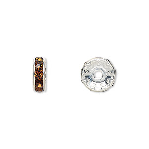 bead, swarovski crystals and silver-plated brass, crystal passions, smoked topaz, 10x3.5mm rondelle (77510). sold per pkg of 48.