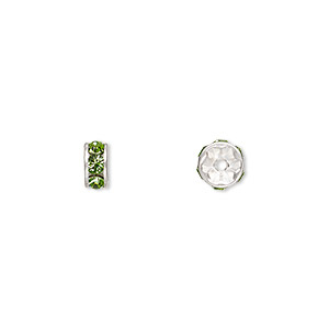 bead, swarovski crystals and silver-plated brass, peridot, 6x3.5mm rondelle (77506). sold per pkg of 4.
