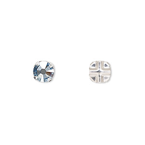 bead, swarovski crystals and silver-plated pewter (tin-based alloy), crystal blue shade, 6.32-6.5mm rose montees, ss30. sold per pkg of 720 (5 gross).