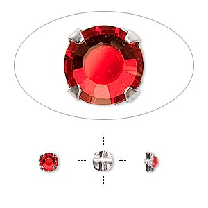 bead, swarovski crystals and silver-plated pewter (tin-based alloy), light siam, 3.8-4mm rose montees with 0.75-0.85mm hole (53102), ss16. sold per pkg of 24.