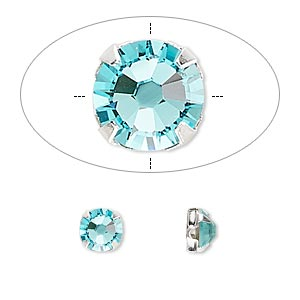 bead, swarovski crystals and silver-plated pewter (tin-based alloy), light turquoise, 6.32-6.5mm rose montees, ss30. sold per pkg of 720 (5 gross).