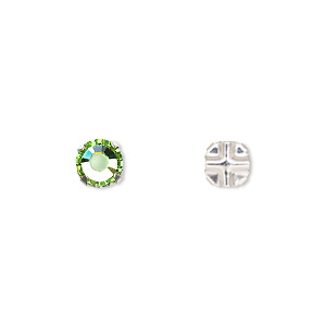 bead, swarovski crystals and silver-plated pewter (tin-based alloy), peridot, 6.32-6.5mm rose montees (53103), ss30. sold per pkg of 720 (5 gross).