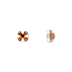 bead, swarovski crystals and silver-plated pewter (tin-based alloy), tangerine, 6.32-6.5mm rose montees (53100), ss30. sold per pkg of 720 (5 gross).