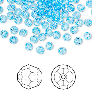 bead, swarovski crystals, aquamarine, 4mm faceted round (5000). sold per pkg of 720 (5 gross).