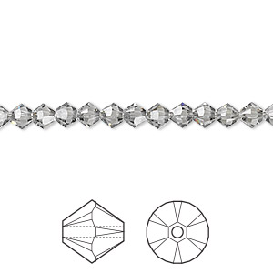 bead, swarovski crystals, black diamond, 4mm xilion bicone (5328). sold per pkg of 48.