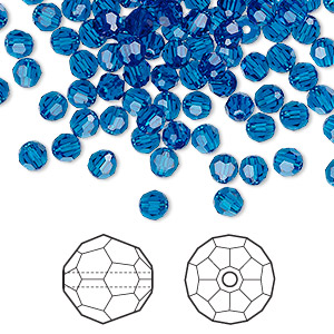 bead, swarovski crystals, capri blue, 4mm faceted round (5000). sold per pkg of 720 (5 gross).