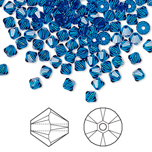 bead, swarovski crystals, capri blue, 4mm xilion bicone (5328). sold per pkg of 144 (1 gross).