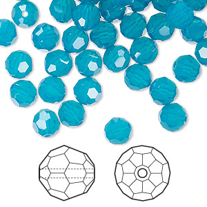 bead, swarovski crystals, caribbean blue opal, 6mm faceted round (5000). sold per pkg of 360.