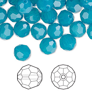 bead, swarovski crystals, caribbean blue opal, 8mm faceted round (5000). sold per pkg of 288 (2 gross).