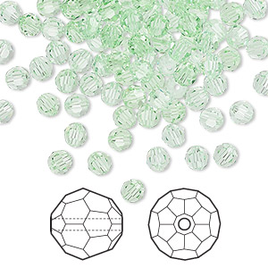 bead, swarovski crystals, chrysolite, 4mm faceted round (5000). sold per pkg of 720 (5 gross).