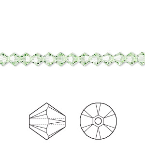 bead, swarovski crystals, chrysolite, 4mm xilion bicone (5328). sold per pkg of 48.