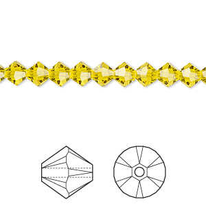 bead, swarovski crystals, citrine, 5mm faceted bicone (5301). sold per pkg of 720 (5 gross).
