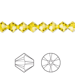 bead, swarovski crystals, citrine, 6mm xilion bicone (5328). sold per pkg of 360.