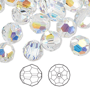bead, swarovski crystals, crystal ab, 10mm faceted round (5000). sold per pkg of 144 (1 gross).